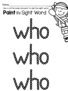 Sight Word Center Activities for the word: who