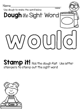 Sight Word Center Activities for the word: would
