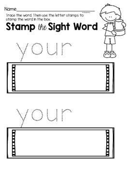 Sight Word Center Activities for the word: your