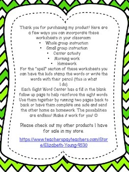 Dolch Sight Word Center - PrePrimer Word List