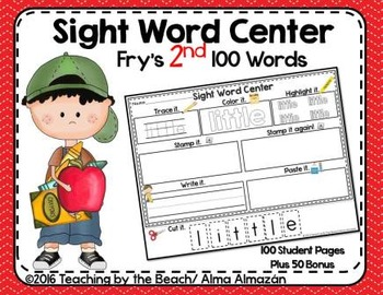 Sight Word Center-Fry's Second 100 Student Pages Plus Bonus Flash Cards