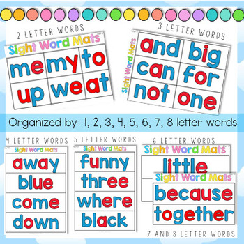 Sight Word Center Mats by Letter Value