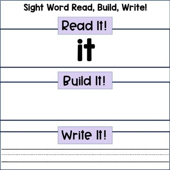 Sight Word Center: Read, Build, Write, Pre-Primer, Primer and First Grade List