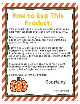 "Sight Word Fluency Practice: ""Say it, Build it, Write it"""