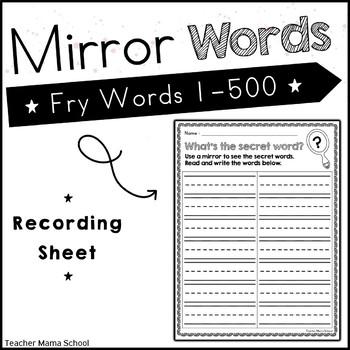 Sight Word Center - Secret Word in Mirror Fry First 300