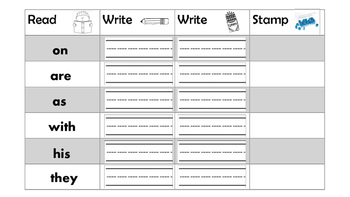 Sight Word Center (Writing and Stamping)
