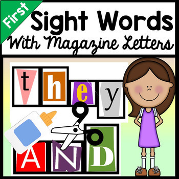 First Grade Sight Words with Magazine Letters {41 words}