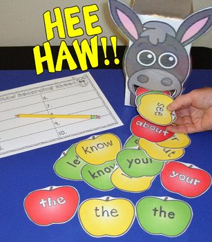 Sight Word Centers Apple Centers Activities 220 Words Feed The Donkey Literacy