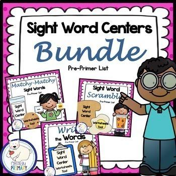 Sight Word Centers Bundle: Pre-Primer List