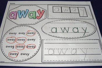 Sight Word Centers Cut and Paste Collage Dolch Pre-Primer Words Fine Motor