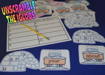Sight Word Centers Winter Centers Activities 220 Words Feed The Yeti Literacy