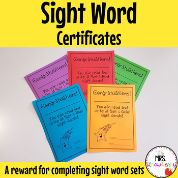 Sight Word Certificates
