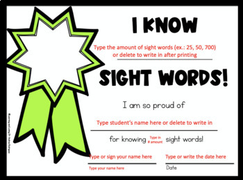 EDITABLE Sight Word Certificates for ANY LIST
