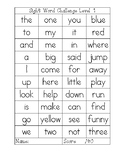 Sight Word Challenge with Level Tracker