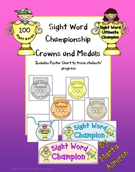 Sight Word Olympics - Crown and Medals