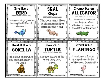 Sight Word Chants and Action Cards
