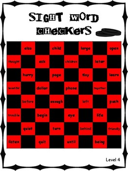 IRLA Aligned Sight Word Checkers Level 4