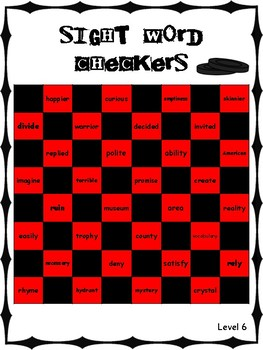 IRLA Aligned Sight Word Checkers Level 6