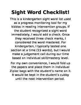Sight Word Checklist