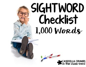 Sight Word Checklist and Assessment Notebook 1000 Fry Words