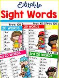 Sight Word Checklists-Editable