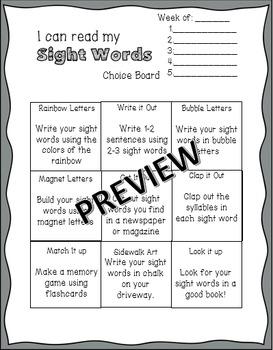 Sight Word Choice Board