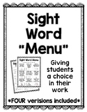 Sight Word Choice Board/Menu