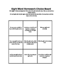 Sight Word Choice Board- Homework