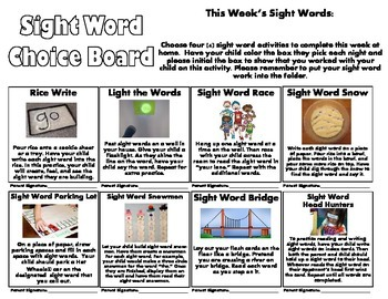 Sight Word Choice Board/Sight Word Homework