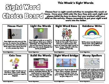 Sight Word Choice Board/Sight Word Homework