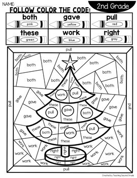 Sight Word Christmas Coloring Pages with 2nd Grade Words | TpT