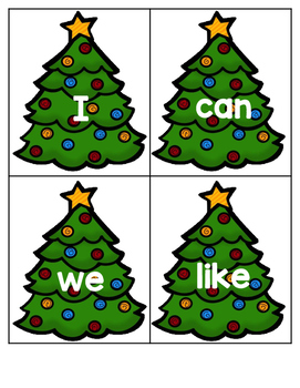 Sight Word Christmas Trees Kindergarten Literacy File Folder Game B/W included