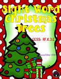 Sight Word Christmas Trees Dolch Words Literacy File Folder Game B/W included