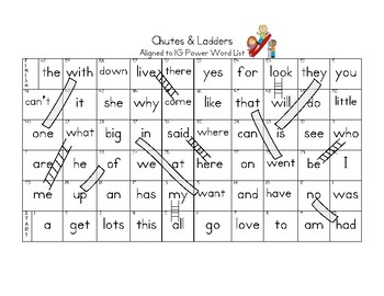 Sight Word Chutes & Ladders (Aligned to 1G Power Words)