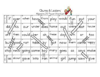 Sight Word Chutes & Ladders aligned to 2G