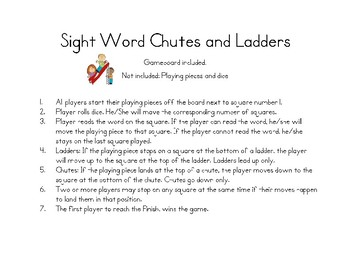 Sight Word Chutes & Ladders Bundle (aligned to IRLA words)
