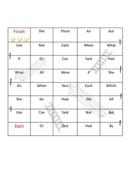 Sight Word Chutes and Ladders 2