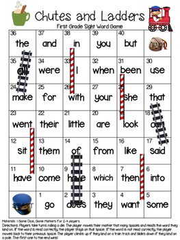 Sight Word Chutes and Ladders