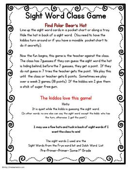 Kindergarten- Special Education- Sight Word Class Game-Find the Polar Bear's Hat