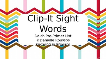 Sight Word Clip-It Cards
