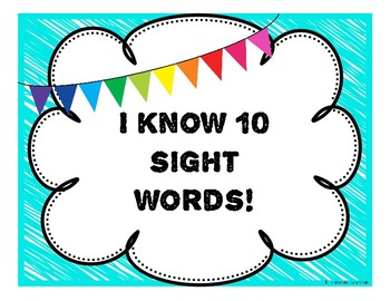 Sight Word Clip Sheet