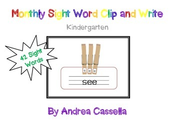 Sight Word Clip and Write
