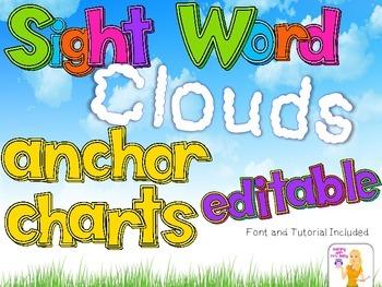 Editable Sight Word Cloud Anchor Charts + FONT