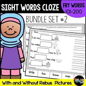 Sight Word Cloze Bundle Set 2: Fry Words 101-200