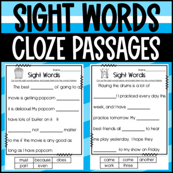 Sight Word Cloze Passages