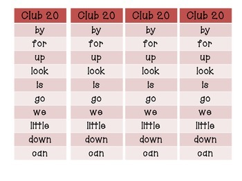 Sight Word Club Word Lists for Word Work