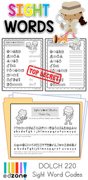 Sight Word Code Worksheets: Dolch 220 Sight Word Sleuths