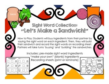 """Sight Word Collection """"Let's Make a Sandwich!"""""""