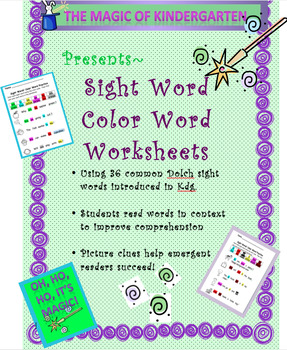 Sight Word~ Color Word Packet