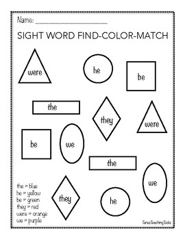 Sight Word Color and Match Set 1